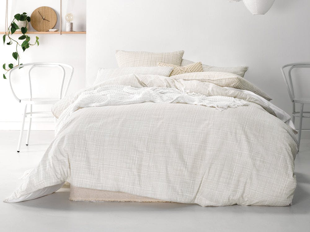 Linen House Farley Taupe Quilt Cover Set - Exclusive To Snooze